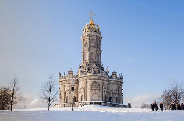 фото усадьба Дубровицы зимой Московская область - Dubrovitsi church photos