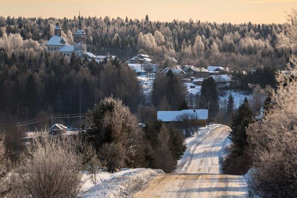 Вологодская область Чучеры Покрово церковь зимой