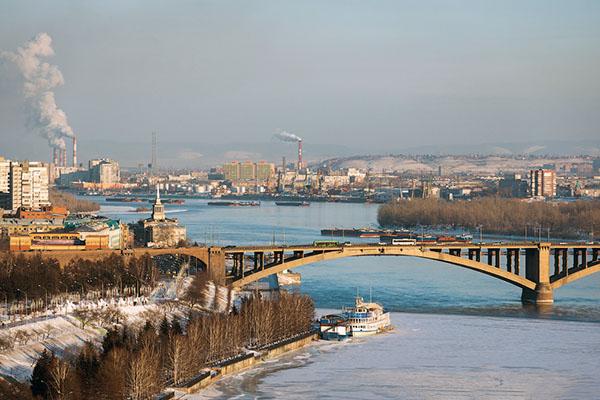 фото Красноярск Енисей мост речной вокзал зима