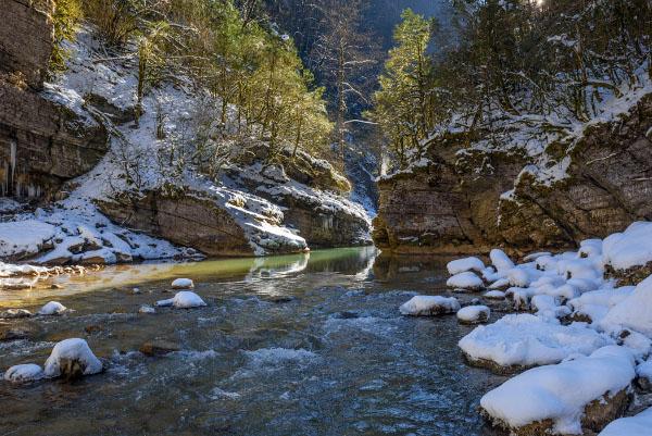Гуамское ущелье зимой Краснодарский край